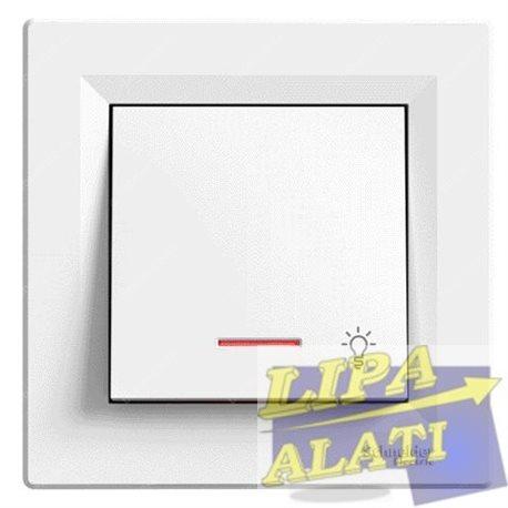 Tipkalo 10A (svjetlo) sa lokatorom, bijelo Asfora