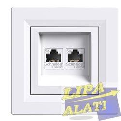 Utičnica kompjuterska 2xRJ45 CAT5 UTP bijela Asfora